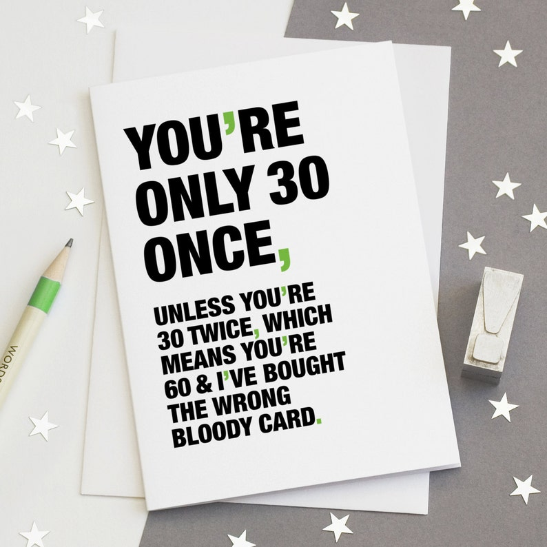 30th Birthday Card Funny Sarcastic