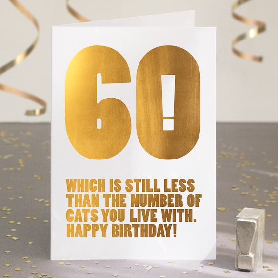Funny 60th Birthday Card For Cat