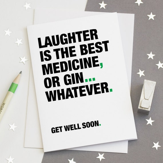 Get Well Soon Card Funny Get Well Card Gin Quotes Gin | Etsy