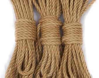 Unprocessed jute bondage rope - 2 ply
