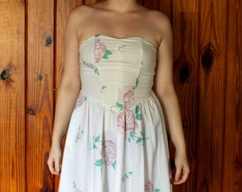 8cfed23500b Vintage 1980s Joni Blair Sweetheart White Floral Sundress