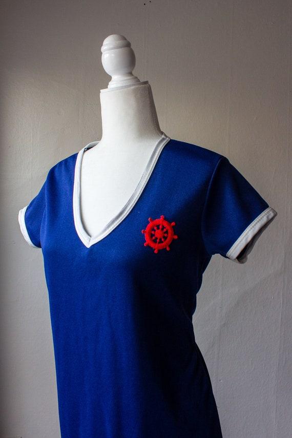 Vintage 1970s Nautical T-Shirt Dress - image 6