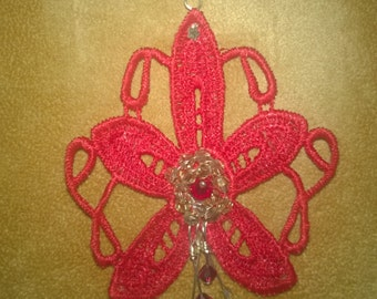Red Lace Flower Pendant With Genuine Ruby and Champagne Swarovski Crystals on silver chain