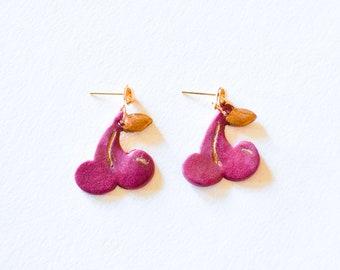 The Cherry Earrings - Clay Earrings, Polymer Clay Jewelry, Unique Earrings, Fruit Earrings, Clay Fruit, Cherries, Cherry Jewelry