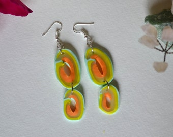 Shades of Neon Polymer Clay Double Geode Earrings