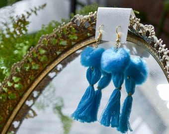 Turquoise Blue Pom Pom Tassel Earrings