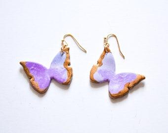 The Butterfly Earrings in Light Purple - Clay Earrings, Polymer Clay Jewelry, Butterflies, Butterfly Jewelry, Light Purple Butterflies