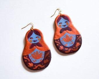 The Nesting Doll Earrings in Copper - Clay Earrings, Polymer Clay, Unique Earrings, Matryoshka, Matryoshka Earrings, Russian Doll