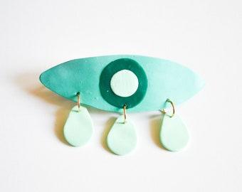 The Gaze Barrette in Green - Polymer Clay Jewelry, Clay Barrette, Eye Shaped Barrette, Crying Eye, Hair Clip, Evil Eye, Eye Jewelry