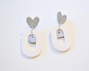 The Valentine Stud Earrings in Icy Blue - Handmade Clay Earrings, Polymer Clay Jewelry, Unique Earrings, Heart Earrings, Heart Shaped, Love