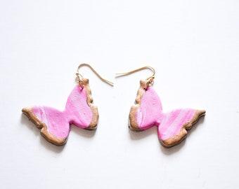 The Butterfly Earrings in Dark Pink - Clay Earrings, Polymer Clay Jewelry, Statement, Butterflies, Butterfly Jewelry, Pink Butterflies