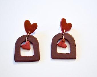 The Valentine Stud Earrings in Rose - Handmade Clay Earrings, Polymer Clay Jewelry,   Unique Earrings