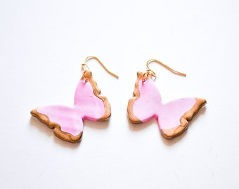 The Butterfly Earrings in Baby Pink - Clay Earrings, Polymer Clay Jewelry, Statement, Butterflies, Butterfly Jewelry, Pink Butterflies