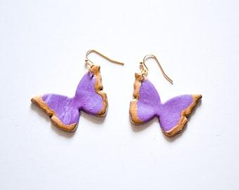 The Butterfly Earrings in Dark Purple - Clay Earrings, Polymer Clay Jewelry, Statement, Butterflies, Butterfly Jewelry, Purple Butterflies
