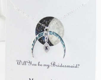 Bridesmaid moon necklace,Moon Necklace,Leaf Necklace,Initial Necklace,Custom Jewlery,Initial Necklace,Leaf Jewelry,Moon Jewelry