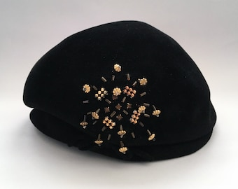 fbbc3323 Vintage Black Felt Dubarry Tam Hat. OldeThingsConsidered