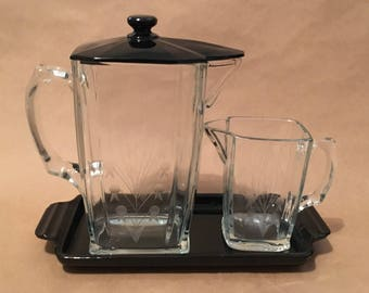 Vintage Art Deco Pressed Glass Pitcher Set With Tray
