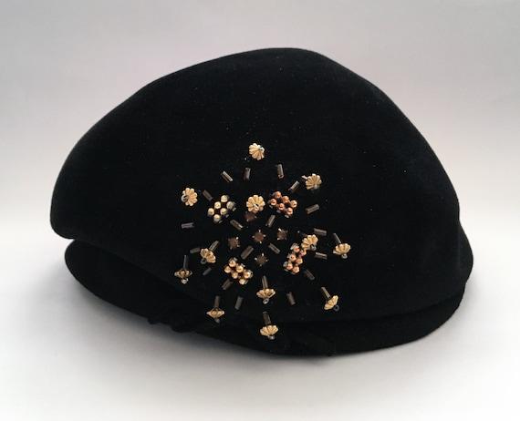 Vintage Black Felt Dubarry Tam Hat