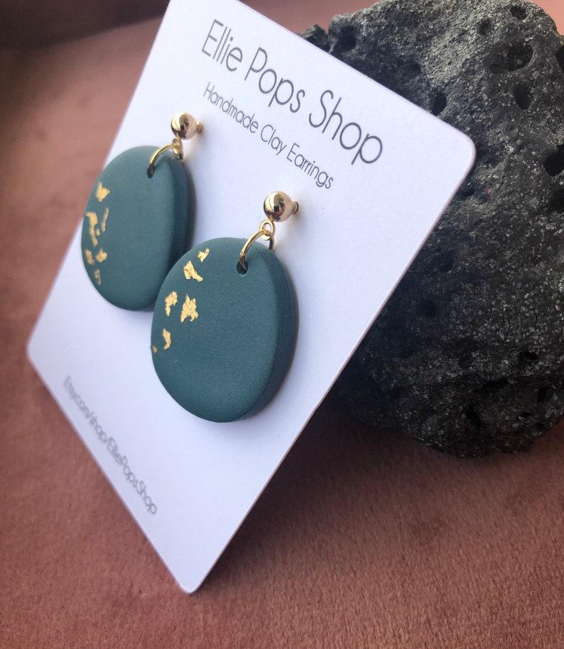 Dark bluegreen clay earrings organic shape round deep dark blue green dangles handmade polymer clay earrings