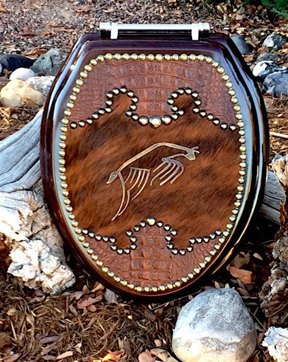 Siri Western Leather And Cowhide Toilet Seat Etsy