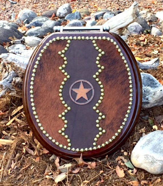 Western Star Toilet Seat With Leather And Cowhide Etsy