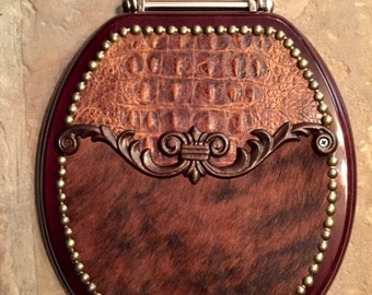 Iron Filagree Leather and Cowhide Toilet Seat