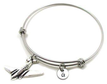5b081b6ddd Airplane Charm Bracelet, Airplane Bangle Bracelet, Airplane Jewelry, Airplane  Bracelet, Expandable Charm Bracelet, Initial Bracelet