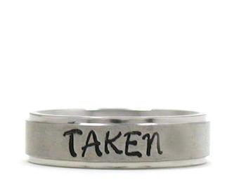 1d8c69131d Taken Ring, Name Ring, Custom Ring, Stainless Steel Ring, Personalized Ring,  Custom Name Ring, Hand Stamped Ring, Commitment Ring