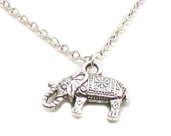 Elephant Necklace, Indian Elephant Necklace, Tiny Elephant Charm, Charm Necklace, Charm Jewelry, Elephant Pendant, Silver Elephant Jewelry