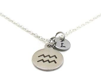 Aquarius Necklace, Zodiac Necklace, Astrology Necklace, Zodiac Charm Jewelry, Aquarius Charm, Zodiac Jewelry, Jewelry Gift, Birthday Gift