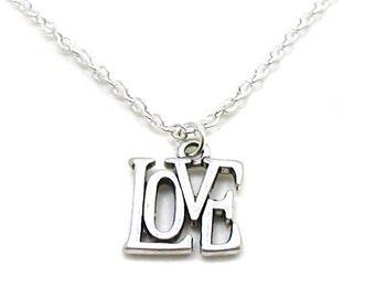 Love Necklace, Love Pendant, Dainty Love Necklace, Charm Jewelry, Silver Love Charm, Silver Love Jewelry, Jewelry Gift, Love Word Necklace