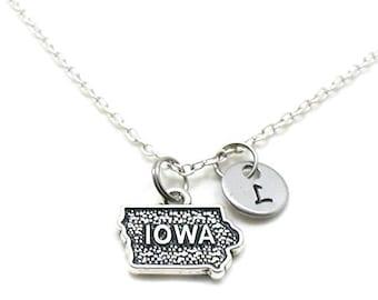 Iowa Necklace, State Of Iowa Necklace, Personalized Necklace, Initial Necklace, Iowa Charm, State Jewelry, State Necklace, Iowa State Charm