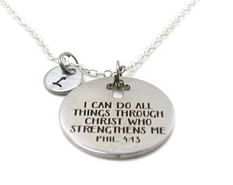 Philippians 4:13 Necklace, Phil 4 13 Necklace, Religious Necklace, I Can Do All Things, Bible Verse Necklace, Christian Necklace