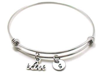 Love Bangle, Love Bracelet, Love Charm Bracelet, Expandable Bangle, Charm Bangle, Love Jewelry, Initial Bracelet, I Love You Bracelet