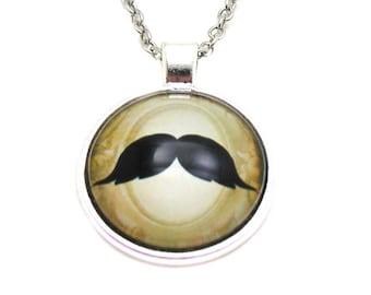Mustache Necklace, Moustache Necklace, Picture Necklace, Mustache Jewelry, Hipster Necklace, Steampunk Necklace, Mustache Pendant, Movember