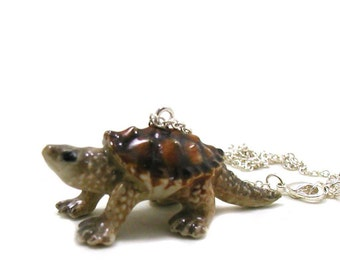Snapping Turtle Necklace, Charm Necklace, Charm Jewelry, Turtle Pendant, Turtle Jewelry, Turtle Charm, Tortoise Jewelry, Sea Turtle Necklace