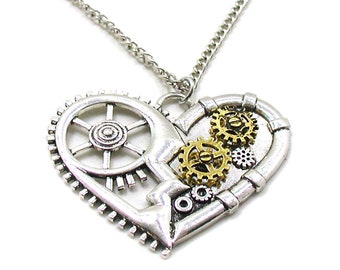 Steampunk Necklace, Copper Necklace, Heart Necklace, Cogs and Gears Necklace, Heart Jewelry, Steampunk Jewelry, Mechanical Heart, Boho Charm