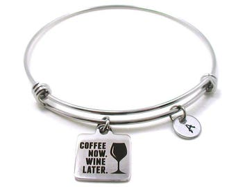 Coffee Now Wine Later Bracelet, Coffee Now Wine Later Bangle, Coffee Jewelry, Wine Jewelry, Wine Lover, Coffee Lover, Wine Charm