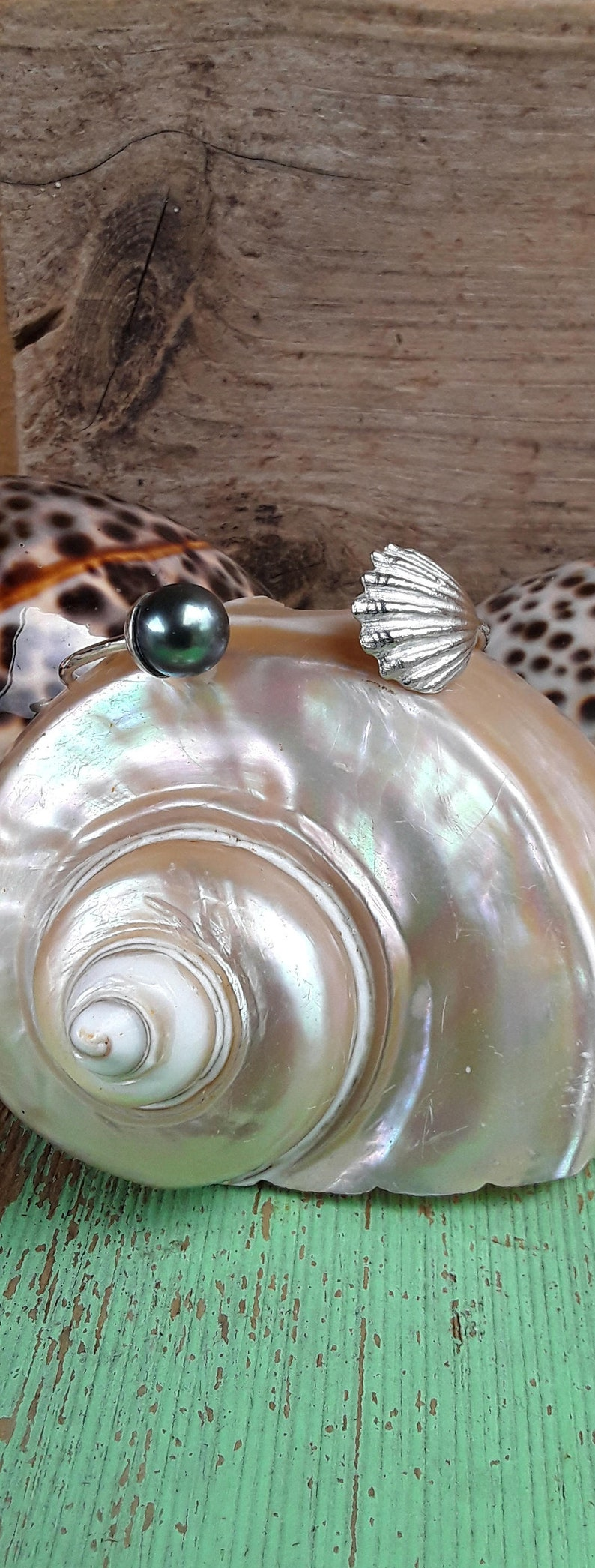 gift,hawaii made,unique beachy Sunrise eclips tahitian pearl sterling silver sunrise shell bracelet bridal