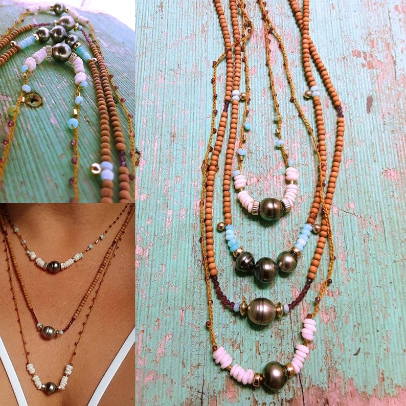 Tahitian pearl,puka shells,14k gold filled beads,garnet hand crochet necklace Made in hawaii,boho,beachy,