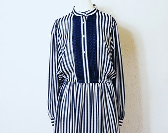 Vintage dress | vintage striped dress | striped dress | pearl buttons | size S /XS