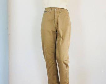 High waist sand trousers | high waist tapered broek | zandkleurige katoenen broek| vintage high waister