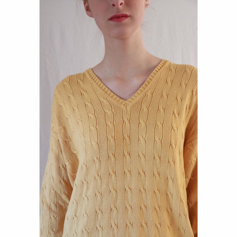 Beige Oversized Trui.Vintage Katoenen Kabeltrui Yellow Cotton Sweater Knitwear Etsy