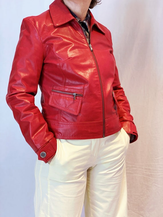 Vintage red leather jacket | Arma leather jacket |