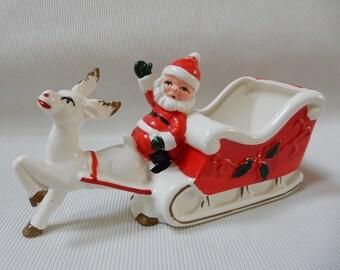 Santa and Sleigh Mid Century Planter
