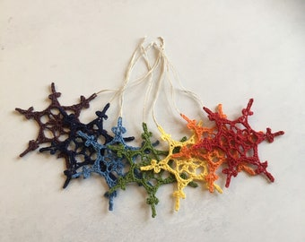 Rainbow snowflake Christmas tree decor. Crochet snowflakes. Rainbow snowflakes. Winter decor.
