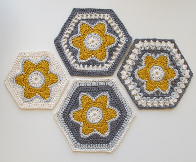 Flora Hexagon Crochet pattern in UK and US terms. Instant image 0