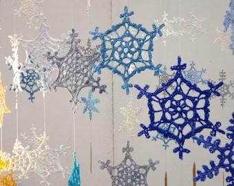 Crochet snowflake pattern collection. 12 crochet snowflake patterns. PDF pattern collection.