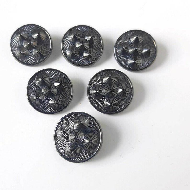 Black cones glass large vintage buttons abstract cosplay medieval shield