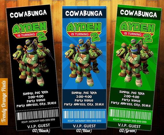 Adolescentes Tortugas Archivo Boleto Del De Tortuga Mutant Para DigitalPersonalizado InvitaciónInvitación Cumpleaños Ninja Tmnt Fiesta 5Rc4Ajq3L